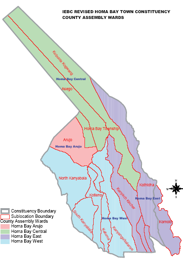 Homabay Town Constituency Map
