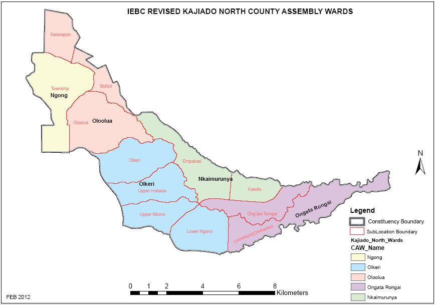 Kajiado North Constituency Map