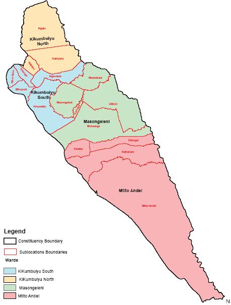 Kibwezi East Constituency Map