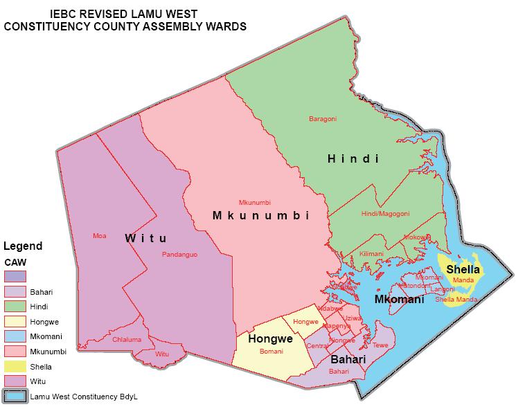 Lamu West Constituency Map