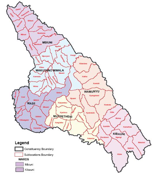 Mwala Constituency Map