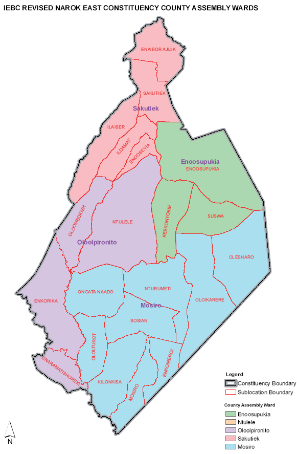 Narok East Constituency Map