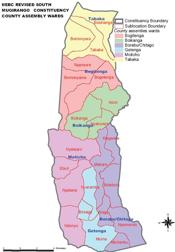 South Mugirango Constituency Map