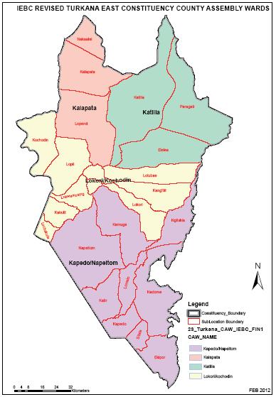 Turkana East Constituency Map