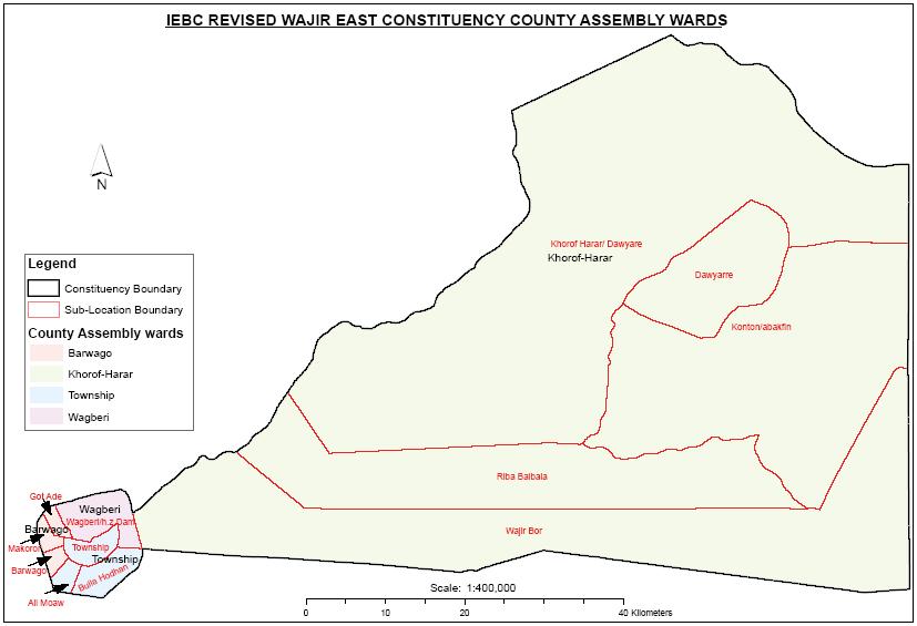 Wajir East Constituency Map