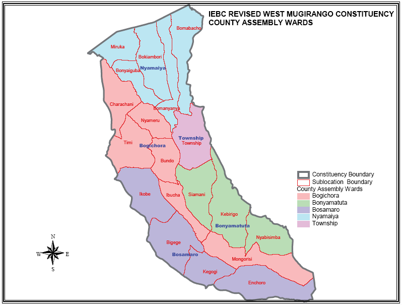 West Mugirango Constituency Map