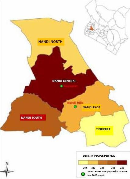 Nandi County Map