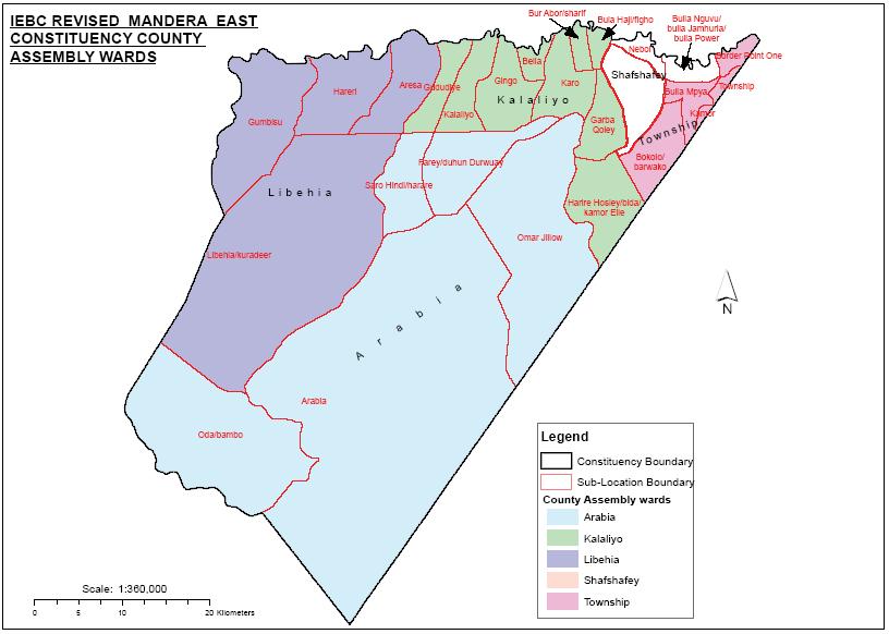 Mandera East Constituency Map