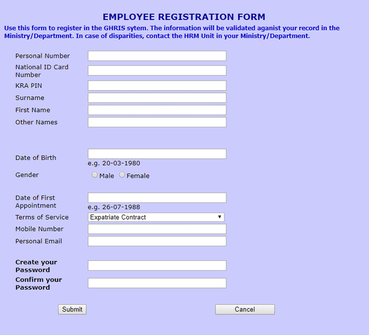 Fill in the boxes to register for payslips at ghris portal