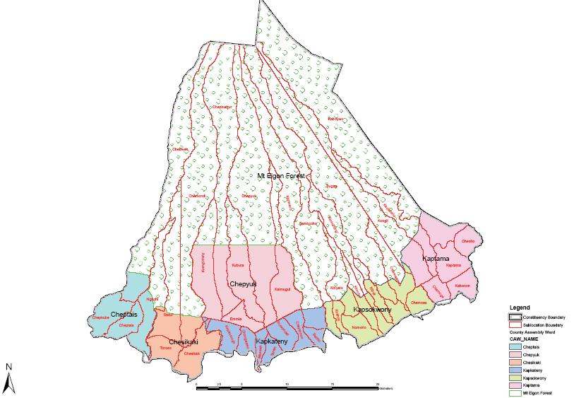 Mt Elgon Constituency Map