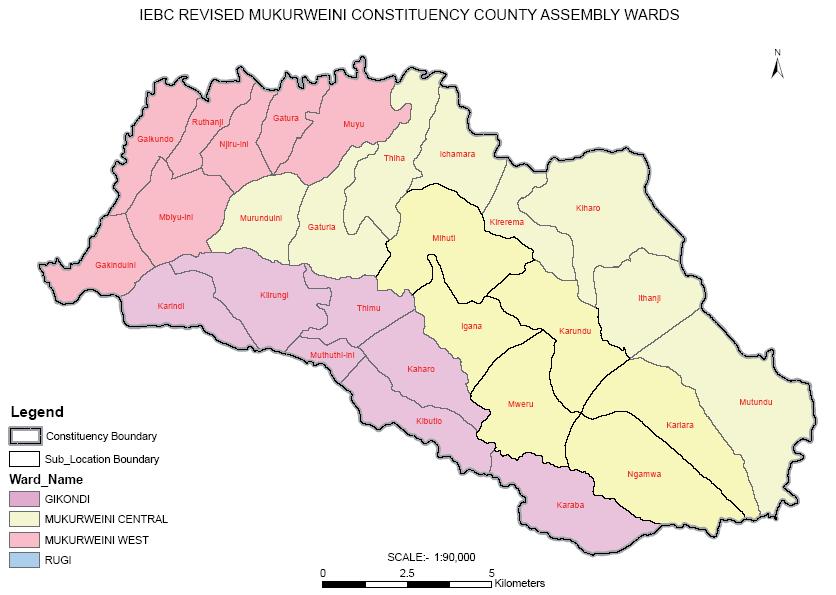 Mukurweini Constituency Map
