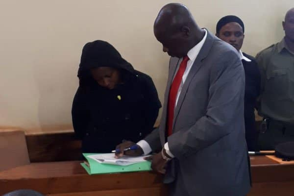 Jakie Maribe with her lawyer Katwa Kigen appear before Kiambu Principal Magistrate Justus Kituku