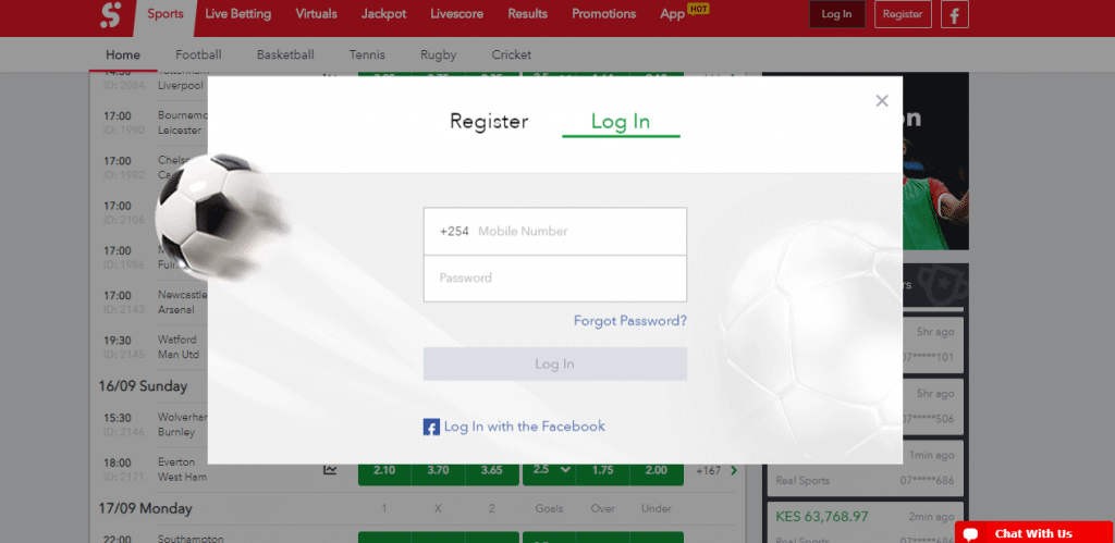 SportyBet Login Photo; Key in your number and the password you registered with or rather login with your facebook details.