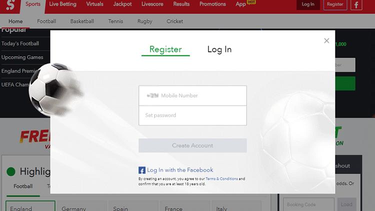 SportyBet Registration Interface Photo
